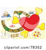 Royalty Free RF Clipart Illustration Of A Big Red Heart Cross And A Path On A Map With A Pirate Ship