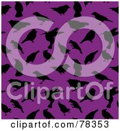 Royalty Free RF Clipart Illustration Of A Seamless Background Of Black Bird Silhouettes On Purple by Cherie Reve