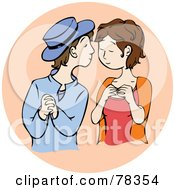 Royalty Free RF Clipart Illustration Of An Amorous Young Brunette Couple Admiring Each Other On A Beige Circle by Cherie Reve
