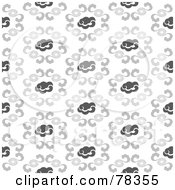 Royalty Free RF Clipart Illustration Of A Seamless Gray And White Cloud Pattern Background by Cherie Reve