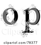 Royalty Free RF Clipart Illustration Of A Vine Alphabet Lowercase Letters O And P by BNP Design Studio