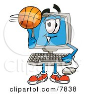 Clipart Picture Of A Desktop Computer Mascot Cartoon Character Spinning A Basketball On His Finger