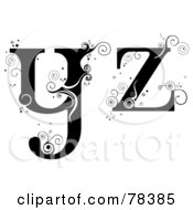 Royalty Free RF Clipart Illustration Of A Vine Alphabet Lowercase Letters Y And Z by BNP Design Studio
