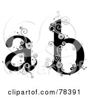 Royalty Free RF Clipart Illustration Of A Vine Alphabet Lowercase Letters A And B by BNP Design Studio