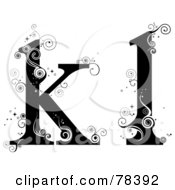 Royalty Free RF Clipart Illustration Of A Vine Alphabet Lowercase Letters K And L