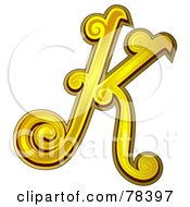 Royalty Free RF Clipart Illustration Of An Elegant Gold Letter K by BNP Design Studio