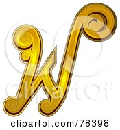 Royalty Free RF Clipart Illustration Of An Elegant Gold Letter W by BNP Design Studio