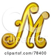 Royalty Free RF Clipart Illustration Of An Elegant Gold Letter M by BNP Design Studio