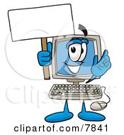 Clipart Picture Of A Desktop Computer Mascot Cartoon Character Holding A Blank Sign by Toons4Biz