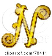 Royalty Free RF Clipart Illustration Of An Elegant Gold Letter N by BNP Design Studio