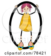 Royalty Free RF Clipart Illustration Of A Stick Kid Alphabet Letter O With A Girl by BNP Design Studio