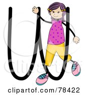 Stick Kid Alphabet Letter W With A Girl