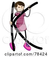 Royalty Free RF Clipart Illustration Of A Stick Kid Alphabet Letter K With A Girl by BNP Design Studio