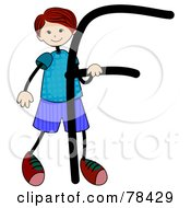 Royalty Free RF Clipart Illustration Of A Stick Kid Alphabet Letter F With A Boy by BNP Design Studio