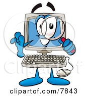 Clipart Picture Of A Desktop Computer Mascot Cartoon Character Looking Through A Magnifying Glass by Toons4Biz