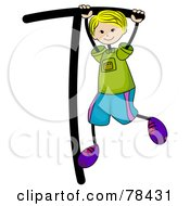 Royalty Free RF Clip Art Illustration Of A Stick Kid Alphabet Letter T With A Boy by BNP Design Studio