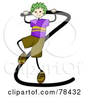 Royalty Free RF Clipart Illustration Of A Stick Kid Alphabet Letter Z With A Boy by BNP Design Studio