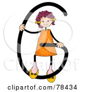 Royalty Free RF Clipart Illustration Of A Stick Kid Alphabet Letter G With A Girl by BNP Design Studio