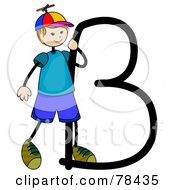 Royalty Free RF Clipart Illustration Of A Stick Kid Alphabet Letter B With A Boy by BNP Design Studio