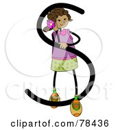 Royalty Free RF Clipart Illustration Of A Stick Kid Alphabet Letter S With A Girl by BNP Design Studio
