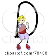 Royalty Free RF Clipart Illustration Of A Stick Kid Alphabet Letter D With A Boy by BNP Design Studio