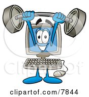 Clipart Picture Of A Desktop Computer Mascot Cartoon Character Holding A Heavy Barbell Above His Head by Toons4Biz
