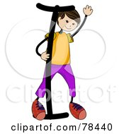 Royalty Free RF Clipart Illustration Of A Stick Kid Alphabet Letter I With A Boy by BNP Design Studio