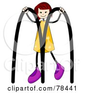 Royalty Free RF Clipart Illustration Of A Stick Kid Alphabet Letter M With A Girl by BNP Design Studio