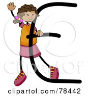 Royalty Free RF Clipart Illustration Of A Stick Kid Alphabet Letter E With A Girl by BNP Design Studio