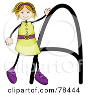 Royalty Free RF Clipart Illustration Of A Stick Kid Alphabet Letter A With A Girl by BNP Design Studio