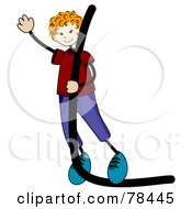 Royalty Free RF Clipart Illustration Of A Stick Kid Alphabet Letter L With A Boy