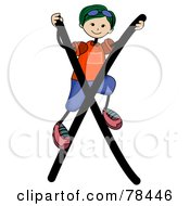 Royalty Free RF Clipart Illustration Of A Stick Kid Alphabet Letter X With A Boy by BNP Design Studio
