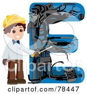 Royalty Free RF Clipart Illustration Of An Alphabet Kid Letter E With An Electrician by BNP Design Studio