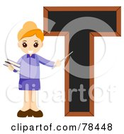 Royalty Free RF Clipart Illustration Of An Alphabet Kid Letter T With A Teacher by BNP Design Studio