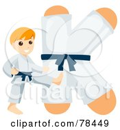 Royalty Free RF Clipart Illustration Of An Alphabet Kid Letter K With A Karate Boy by BNP Design Studio