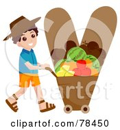 Royalty Free RF Clipart Illustration Of An Alphabet Kid Letter V With A Veggie Farmer by BNP Design Studio