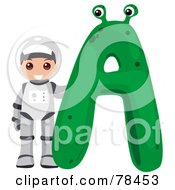 Alphabet Kid Letter A With An Astronaut