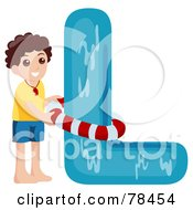 Royalty Free RF Clipart Illustration Of An Alphabet Kid Letter L With A Lifeguard