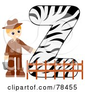 Royalty Free RF Clipart Illustration Of An Alphabet Kid Letter Z With A Zookeeper by BNP Design Studio