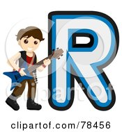 Royalty Free RF Clipart Illustration Of An Alphabet Kid Letter R With A Rock Star by BNP Design Studio