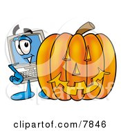 Clipart Picture Of A Desktop Computer Mascot Cartoon Character With A Carved Halloween Pumpkin by Toons4Biz