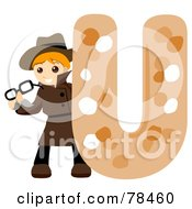 Royalty Free RF Clipart Illustration Of An Alphabet Kid Letter U With An Undercover Agent