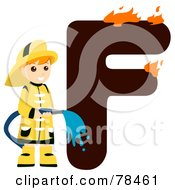 Royalty Free RF Clipart Illustration Of An Alphabet Kid Letter F With A Fireman
