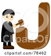 Royalty Free RF Clipart Illustration Of An Alphabet Kid Letter J With A Judge