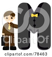 Royalty Free RF Clipart Illustration Of An Alphabet Kid Letter M With A Business Man by BNP Design Studio