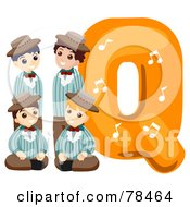 Alphabet Kid Letter Q With A Quartet