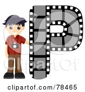 Royalty Free RF Clipart Illustration Of An Alphabet Kid Letter P With A Photographer by BNP Design Studio