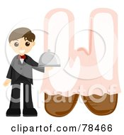 Royalty Free RF Clipart Illustration Of An Alphabet Kid Letter W With A Waiter by BNP Design Studio