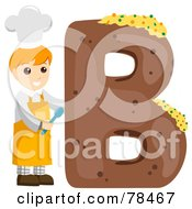 Royalty Free RF Clipart Illustration Of An Alphabet Kid Letter B With A Baker by BNP Design Studio