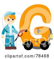 Royalty Free RF Clipart Illustration Of An Alphabet Kid Letter G With A Gas Station Attendant by BNP Design Studio